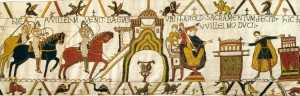 Harold swearing allegiance to William on holy relics.